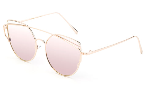 Modern Geometric Aviator Inspired Cat Eye Sunglasses with a Gold Metal Frame and UV 400 Protected Pink Flash Lens.