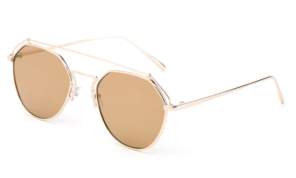 Premium Aviator Inspired Geometric Design Gold Metal Framed Sunglasses with UV400 Protected Brown Flash Lens.