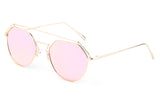 Premium Aviator Inspired Geometric Design Gold Metal Framed Sunglasses with UV400 Protected Pink Flash Lens.