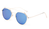 Premium Aviator Inspired Geometric Design Silver Metal Framed Sunglasses with UV400 Protected Blue Flash Lens.