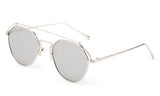 Premium Aviator Inspired Geometric Design Silver Metal Framed Sunglasses with UV400 Protected Mirror Flash Lens.