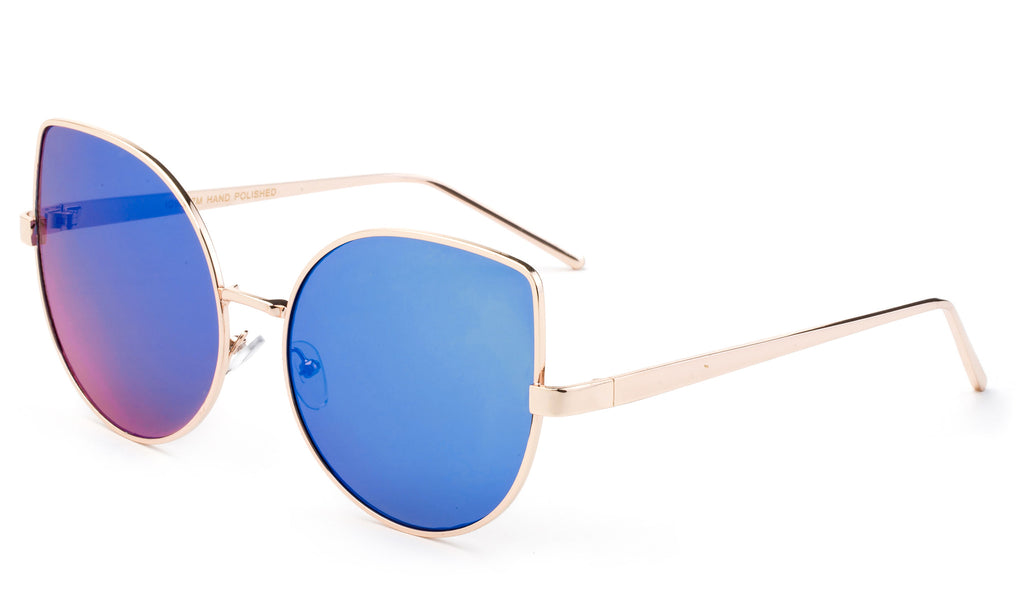 Premium Cat Eye Designer Sunglasses with Stylish Gold Metal Frame and UV 400 Protected Blue Flash Lens.