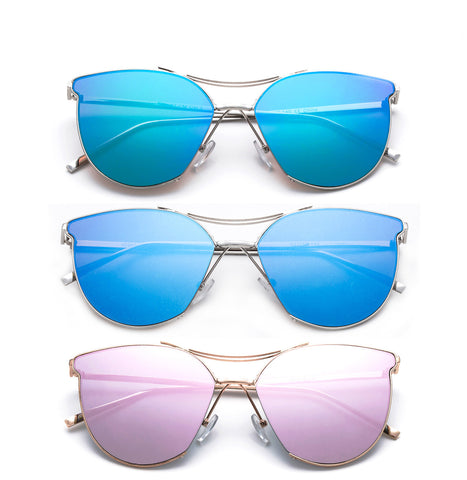 cateye sunglasses for women flash lenses high quality  metal