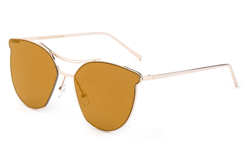 Classic Cat Eye Inspired Sunglasses with a Gold Metal Frame and Brown Flash Lens.