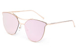 Classic Cat Eye Inspired Sunglasses with a Gold Metal Frame and Pink Flash Lens.