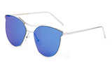 Classic Cat Eye Inspired Sunglasses with a Silver Metal Frame and Blue Flash Lens.