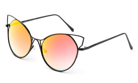 47a99fdf38b7 Trendy Cat Eye Inspired Sunglasses with Black Aluminum Frame and Orange Flash  Lens.