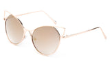 Trendy Cat Eye Inspired Sunglasses with Gold Aluminum Frame and Brown Flash Lens