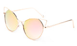 Trendy Cat Eye Inspired Sunglasses with Gold Aluminum Frame and Pink Flash Lens