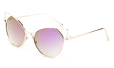 Trendy Cat Eye Inspired Sunglasses with Gold Aluminum Frame and Purple Flash Lens