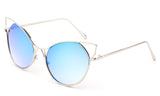 Trendy Cat Eye Inspired Sunglasses with Silver Aluminum Frame and Blue Flash Lens
