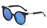Trendy Geometric Round Design Black Sunglasses with UV Protected Circular Flat Flash Blue Lens.