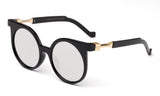 Trendy Geometric Round Design Black Sunglasses with UV Protected Circular Flat Flash Mirror Lens.