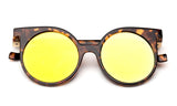 Trendy Geometric Round Design Tortoise Sunglasses with UV Protected Circular Flat Flash Yellow Lens.