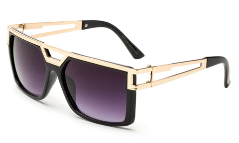 Modern Geometric Squared Design Sunglasses with Gold Metal Accents Along Topside of Black Frame with UV400 Protected Gradient Purple Lens.