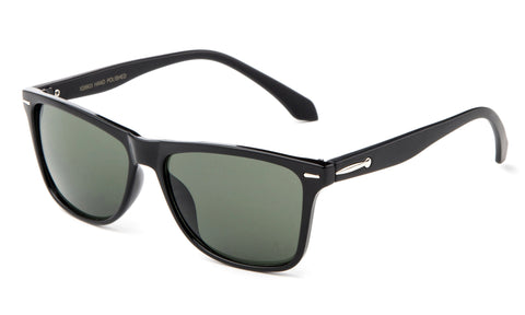 Classic Horned Rim Sunglasses in Black with Green Lens.