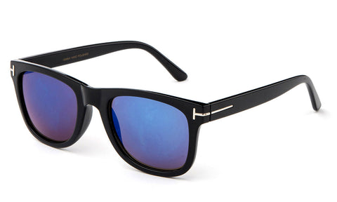 Trendy Horned Rim Wayfarer Blue Flash Lens Black Frame Sunglasses