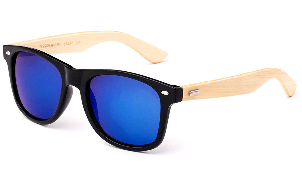 Classic Horned Rim Wayfarer Blue Flash Lens Sunglasses with Bamboo Temples.