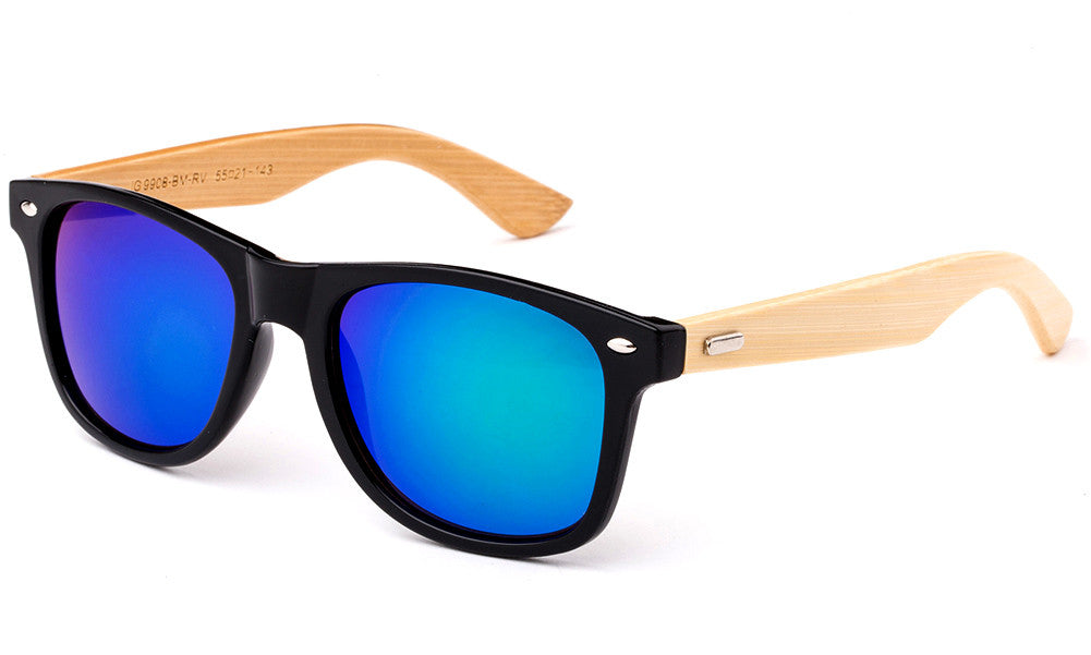 Classic Horned Rim Wayfarer Green Flash Lens Sunglasses with Bamboo Temples.