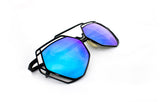 Trendy Geometric Aviator Inspired Sunglasses with a Black Metal Frame and UV400 Protected Blue Flash Lens.
