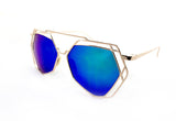 Trendy Geometric Aviator Inspired Sunglasses with a Gold Metal Frame and UV400 Protected Green Flash Lens.