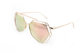 Trendy Geometric Aviator Inspired Sunglasses with a Gold Metal Frame and UV400 Protected Pink Flash Lens.