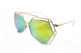 Trendy Geometric Aviator Inspired Sunglasses with a Gold Metal Frame and UV400 Protected Yellow Flash Lens.