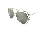 Trendy Geometric Aviator Inspired Sunglasses with a Silver Metal Frame and UV400 Protected Mirror Flash Lens.