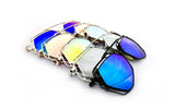 Trendy Geometric Aviator Inspired Sunglasses with a Metal Frame and UV400 Protected Flash Lens.