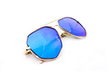 Modern Octagon Geometric Aviator Inspired Air Brushed Aluminum Gold Frame Sunglasses with UV 400 Protected Blue Flash Lens.