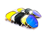 Modern Octagon Geometric Aviator Inspired Air Brushed Aluminum Frame Sunglasses with UV 400 Protected Flash Lens.