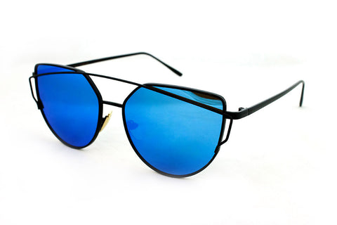 Trendy Geometric Aviator Inspired Cat Eye Sunglasses with a Black Metal Frame and UV400 Protected Blue Flash Lens.