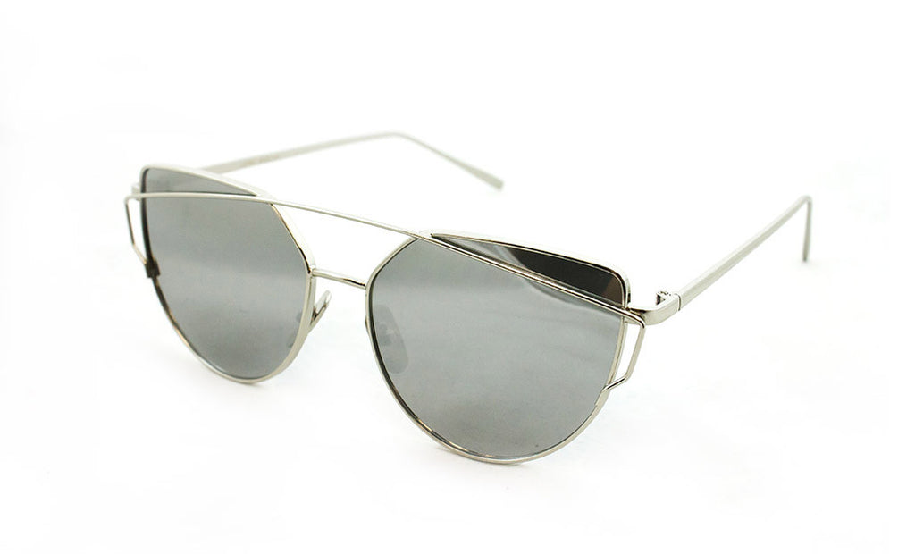 Trendy Geometric Aviator Inspired Cat Eye Sunglasses with a Silver Metal Frame and UV400 Protected Mirror Flash Len