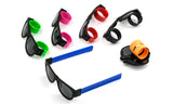 Trendy Folding Horned Rim Sunglasses with Colored Rubber Bendable Temples.