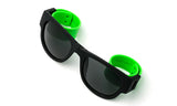 Trendy Folding Horned Rim Sunglasses with Colored Rubber Bendable Temples in Black and Green.