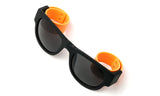Trendy Folding Horned Rim Sunglasses with Colored Rubber Bendable Temples in Black and Orange
