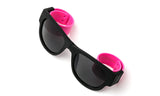 Trendy Folding Horned Rim Sunglasses with Colored Rubber Bendable Temples in Black and Hot Pink