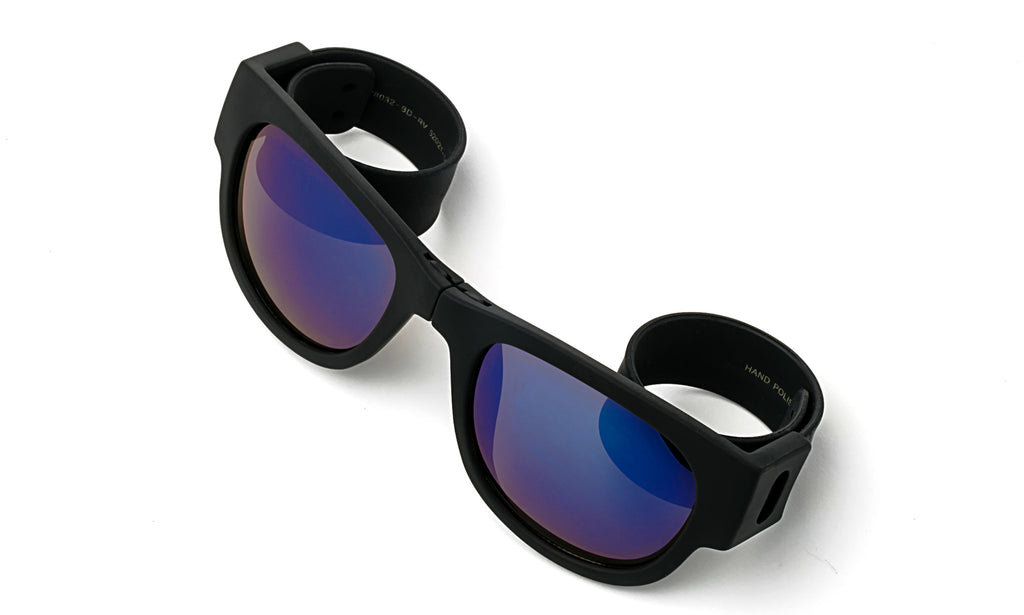 Trendy Folding Horned Rim Blue Flash Lens Sunglasses with Black Rubber Bendable Temples.