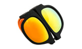 Trendy Folding Horned Rim Flash Lens Sunglasses with Colored Rubber Bendable Temples.