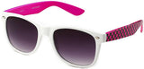 horned rim two tone white hot pink checkered temples