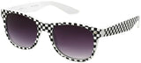 horned rim white frame black checker UV400