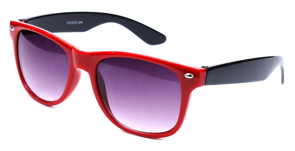 horned rim two tone red black sunglasses gradient
