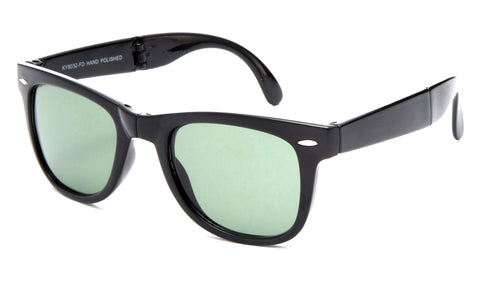 Fold-able Horned Rim Wayfarer Black Frame Sunglasses with a UV Protected Green Lens.