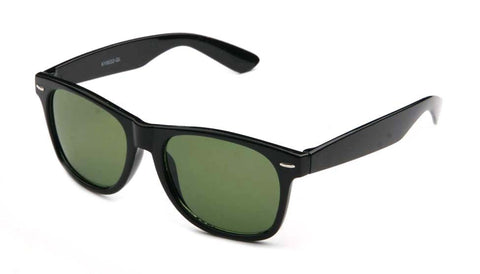 Stylish Horned Rim Wayfarer Real Glass Lens Black Frame Green Lens UV400 Protection.