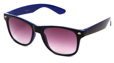 Classic Horned Rim Two Tone Wayfarer with Gradient Lens in Black and Blue.