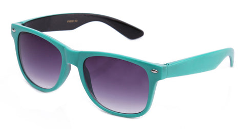 Classic Two Tone Horned Rim Sunglasses with Gradient Lens in Teal and Black.