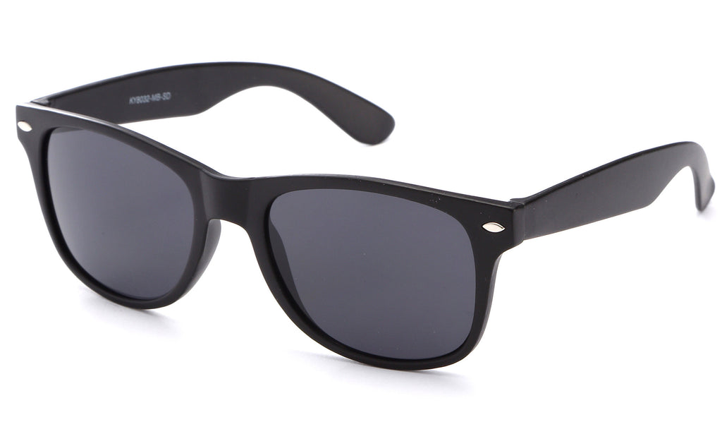 flat matte black horned rim sunglasses smoke UV400