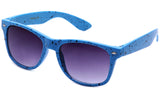 Classic Horned Rim Speckled Blue Frame with UV Protected Gradient Lens Sunglasses.
