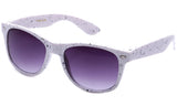 Classic Horned Rim Speckled White Frame with UV Protected Gradient Lens Sunglasses.