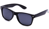 "Classic ""Blues Brothers"" Horned Rim Wayfarer in Black with Polarized Smoke Lens Sunglasses"